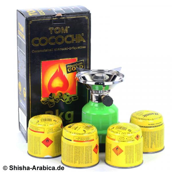 Gaskocher Set IV inkl. 3kg TOM Cococha Premium Gold 3kg