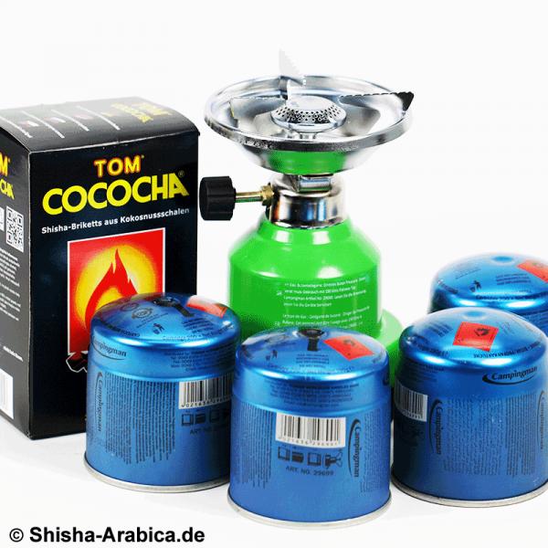 Gaskocher Set VI + TOM Cococha Premium Gold 1 kg