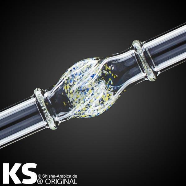 "KS Glas Liner ""Minea"" Yellow-White-Blue 35cm"